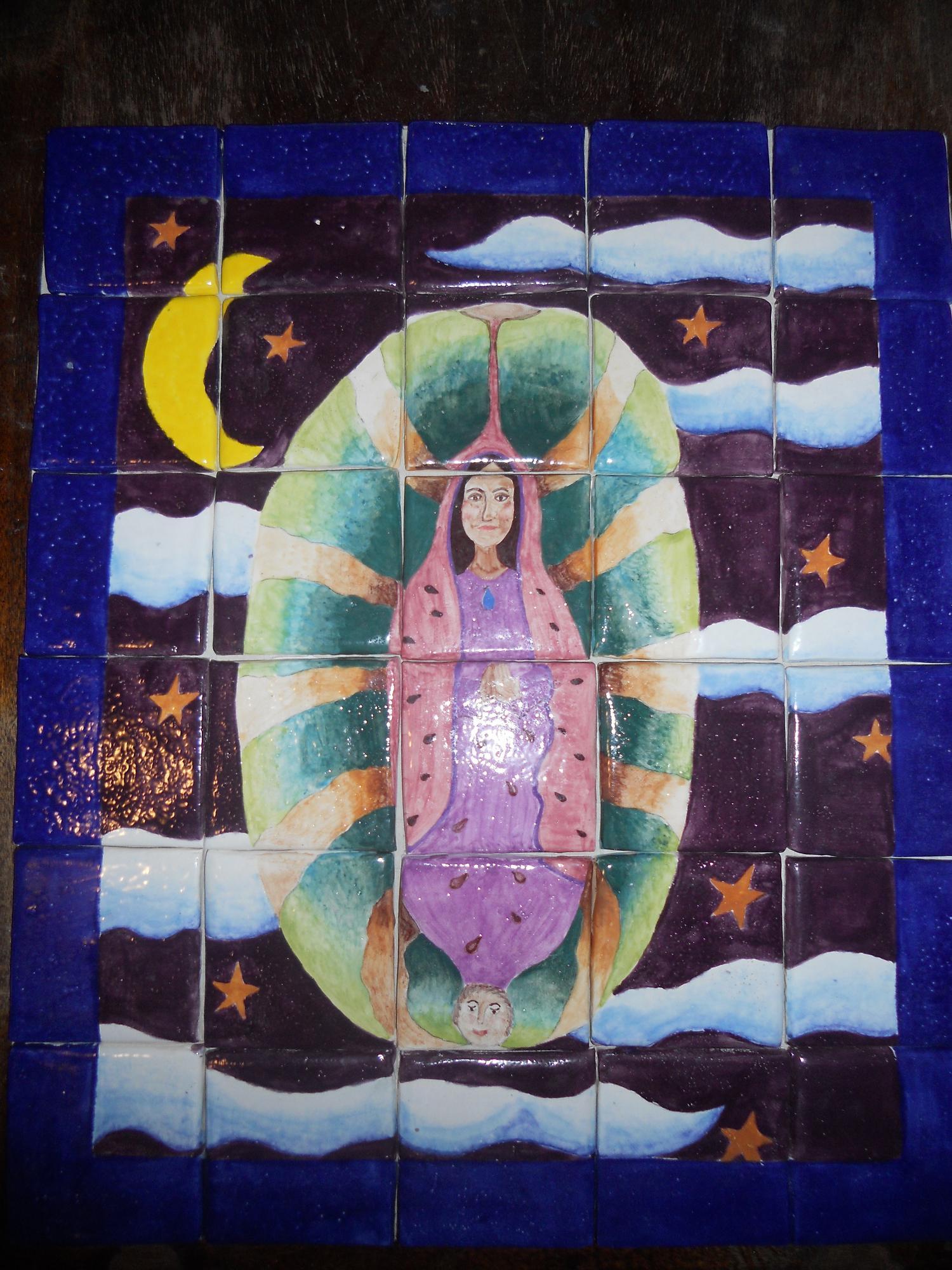 """La Virgen de la Sandia"""" handmade ceramic tiles...20"""" x 24"""""""