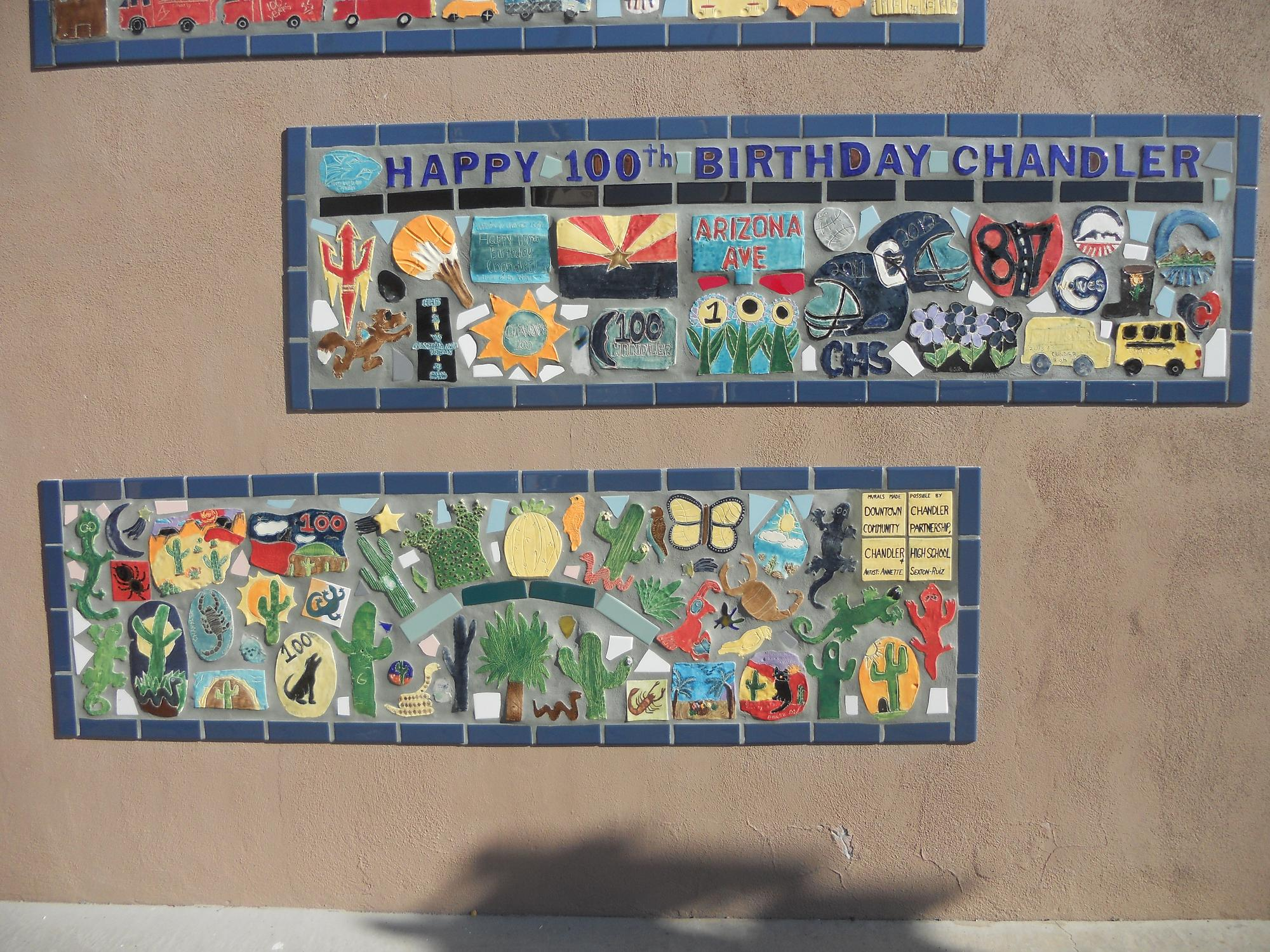 "Close up ""Chandler High"" and ""Desert"" Murals"